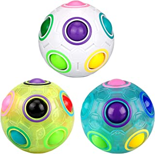 Dreampark Rainbow Puzzle Ball, 3 Pack Rainbow Magic Ball Puzzle Fidget Toys Race Game for Kids