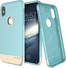 Prodigee [Fit Pro Aqua Blue Gold for iPhone X (2017) & iPhone Xs (2018) Protective Cover Stylish Fashionable Slim Slider Two Piece Design Case