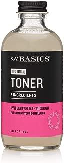 S.W. Basics Toner, Witch Hazel Face Toner for Sensitive Skin and Acne-Prone Skin, Organic and Cruelty Free, 4.0 fl oz
