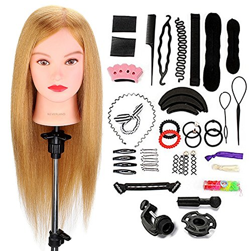 Neverland Beauty 22 Inch 80% Real Hair Training Head Practice Mannequin Hairdressing Dolls Head with Clamp Holder & DIY Hair Styling Tools #27