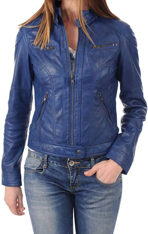 Women's Stylish Lambskin Genuine Leather Jacket WJ241