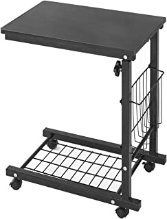 Soges Side Table Moving Unite Adjustable Laptop Desk Small Computer Table with Caster, Black, ZS-C6-BK
