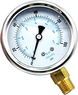 """Tailonz Pneumatic New Stainless Steel Liquid Filled Pressure Gauge WOG Water Oil Gas 0 to 100 PSI Lower Mount 0-100 PSI 1/4"""" NPT 2.5"""" FACE DIAL for Compressor Hydraulic Air Tank"""