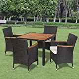 Festnight Outdoor Garden Dining Set Poly Rattan Acacia Table Top