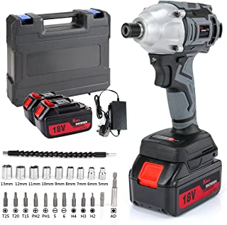 King showden Impact Driver with 2 Battery, Cordless Impact Driver 18V 5,000mAH Lithium Battery, 500Nm High Torque, Dual Sp...