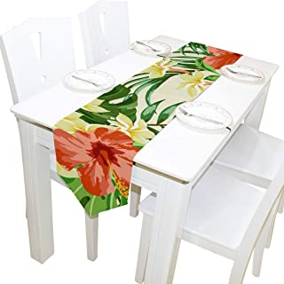 imobaby Tropical Hawaiian Plumeria and Hibiscus Flowers Table Runner Home Decor, Long Rectangle Tablecloth Mat for Wedding Party Banquet Decoration 13 x 90 Inch,Multi26