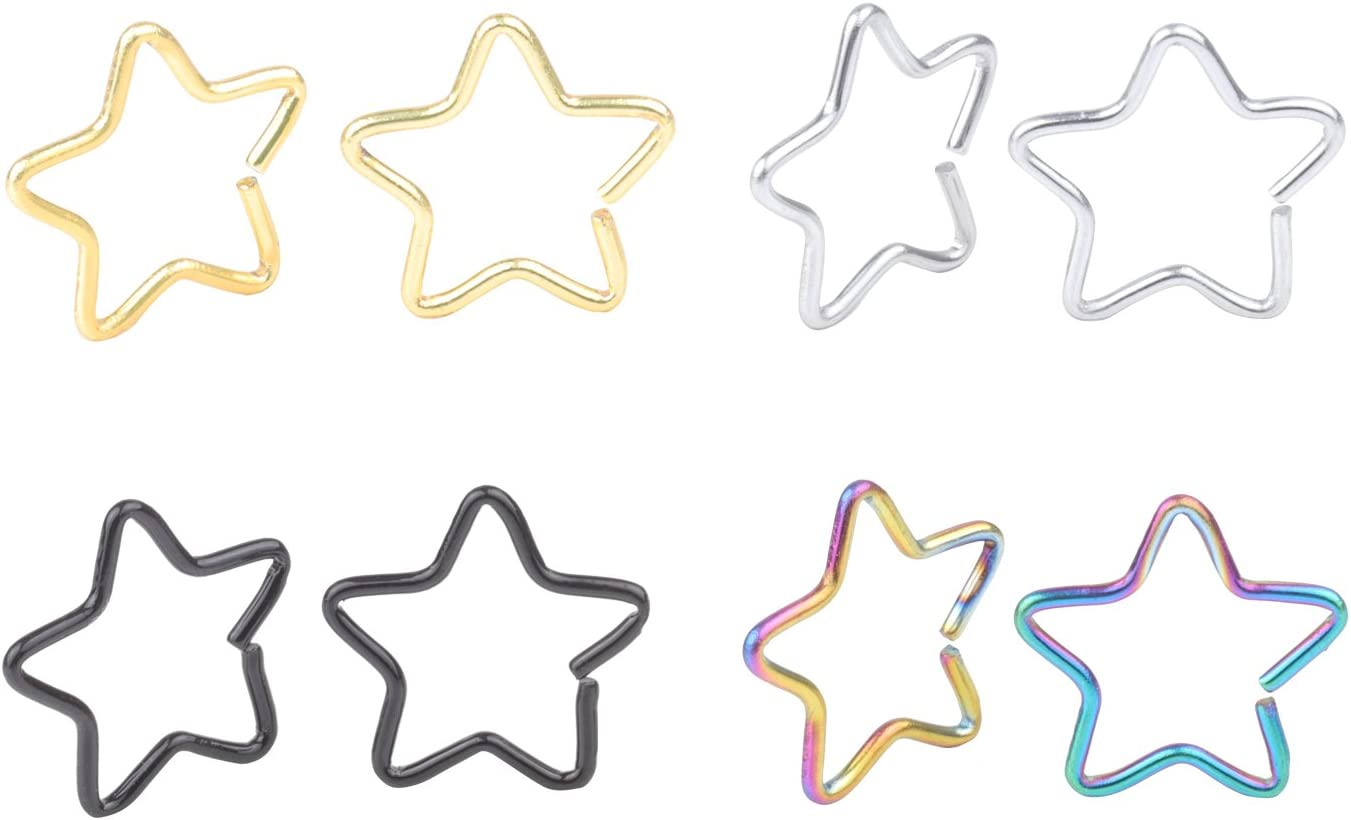 DRM 8pcs 20G Stainless Fixed price for sale Steel Tiny Captive Popularity Dait Star Ring Niobium