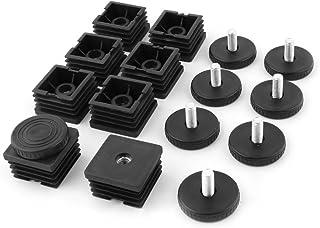 uxcell 固定脚 水平足 オフィス 家具テーブル 調整可能な脚 ベースチューブインサート プラスチック 8セット