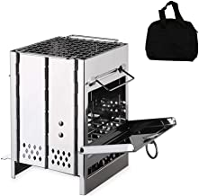 YYAN Folding Stove Mini Stainless Steel Portable Wood Grill Outdoor Camping Cooking 1-2 People