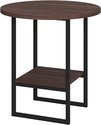 Dmora Tavolino con Doppio ripiano, cm 45 x 45 x 47, Colore Noce e Antracite