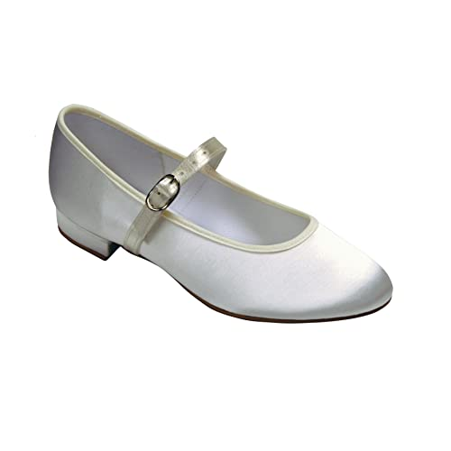 7b3580ee312 Girls White or Ivory Satin Strap Shoes Sizes 10 to 3