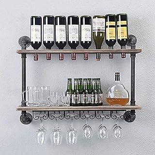 Casier à vin mural antique industriel avec support en verre, casier à vin suspendu à tuyau, étagère flottante en bois à 2 ...