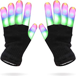 Luwint LED Colorful Flashing Finger Light Gloves Glow Rave Toy for Adult Youth