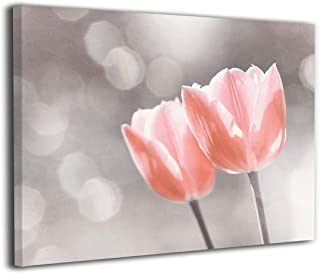 BLI Light Pinkish Silver Flower, Coral Floral Tulip Art Wall Canvas Picture Prints for Home Decor Ready to Hang on Living Room Bedroom Artwork