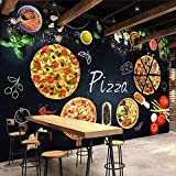 CQDSQN Sfondo Murale Ristorante del caffè della carta da parati della foto della lavagna della pizzeria 3D PVC Autoadesiva Adesivi murali La stanza dei bambini Moderno Arte Manifesto Fo(W)400x(H)280cm