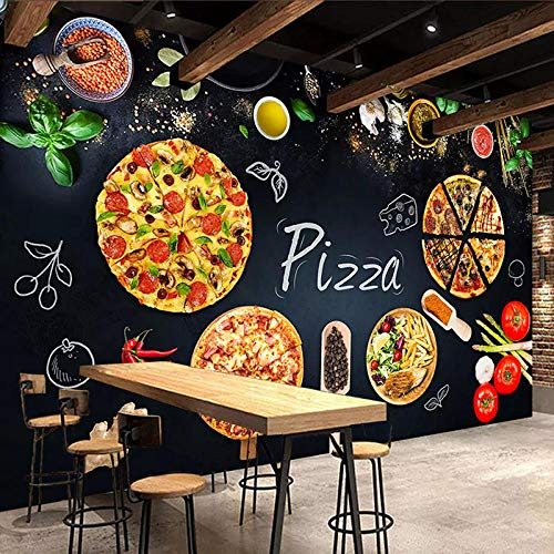 CQDSQN 3D Adesivi murali Sfondo Ristorante del caffè della carta da parati della foto della lavagna della pizzeria Autoadesiva PVC Murale Palestra Yoga Studio Negozio di vestiti Negozio(W)250x(H)175cm