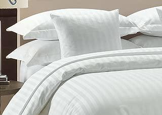 Amazon Luxurious Hotel Collection 800TC 3pc Duvet Cover Set 100% Egyptian Cotton King Size White Stripe