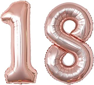 40 Inch Jumbo Rose Gold 18 Number Balloon 18th Birthday Party Supplies Anniversary Events Graduation Decorations