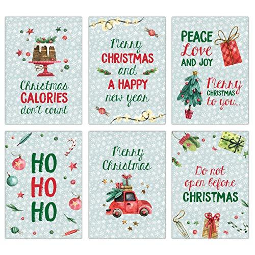 Papierdrachen Juego de 12 tarjetas postales para Navidad, impresión artística para enviar y coleccionar, juego de 13 menta en inglés