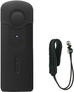 EEEKit Ricoh Theta S用セキュリティプロテクターキット、シリコンレンズキャップ保護カバーケース&パラコード手首ストラップ(黒)