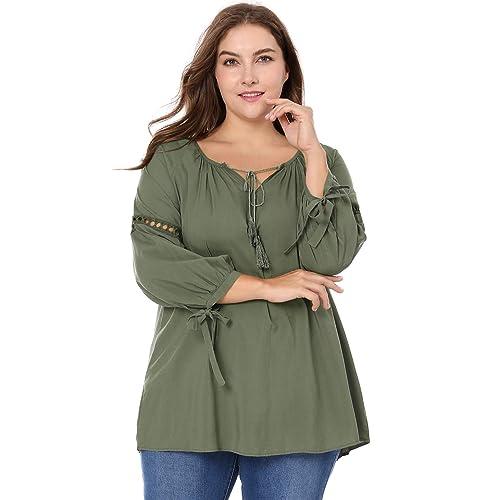 19a032e2523 Agnes Orinda Women s Plus Size Raglan Sleeves Hollow Out Tie Neck Tunic Top