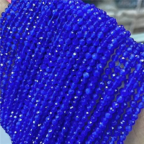 KUQIQI Wholesale facetado 2mm 3 mm Perlas de Piedra Natural Pequeño Gato Brillante Ojo Gema Suelta Perlas para joyería Haciendo Pulsera Collar Suministros (Color : Dark Blue, Talla : 3mm)