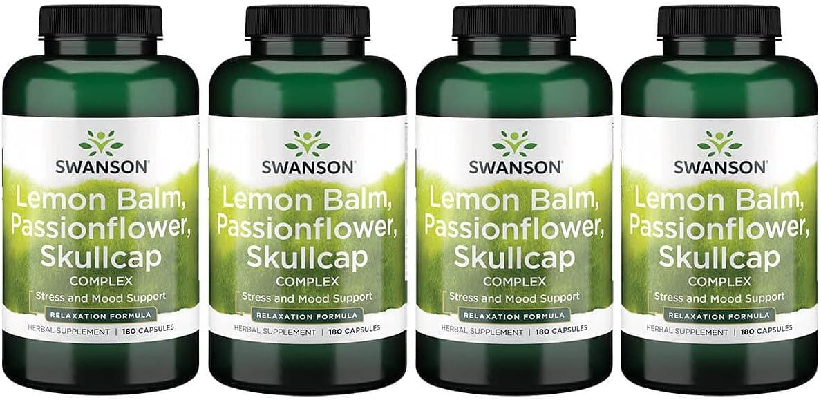 Swanson 売店 海外輸入 Lemon Balm Passion Flower Complex Capsules 180 Skullcap