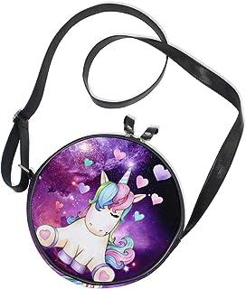 Ahomy Runde Tasche klein für Frauen – Nebel Galaxie Sternenhimmel Einhorn Herz Damen Mode Crossbody Tasche Umhängetasche