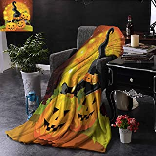 Halloween Chenille Throw Blanket Witch Hat Spooky Pumpkins Bedroom Dorm Sofa Baby Cot Beach W50 xL60