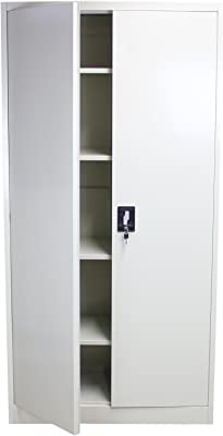 l x P x H mewmewcat Armoire /à Casiers Armoire de Rangement Meuble de Rangement avec 2 Compartiments en Acier Gris 38 x 45 x 180 cm