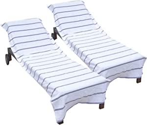 Arkwright Pool Chair Covers (Oversized:30x85 Inch, 2-Pack), Cotton Chaise Lounge Cover with 8 Inch Deep Pocket to Fit Any Beach Chair (Light Grey)