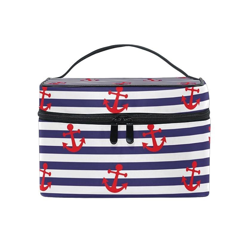 学ぶ無能中国ALAZA 化粧ポーチ 海軍風 セーラー風 化粧 メイクボックス 収納用品 ブルー 大きめ かわいい
