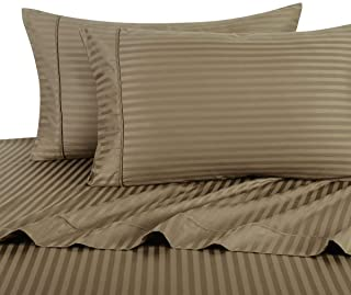 UNIWARESAL 3 Pieces Bedding Duvet Cover Set with Stylish Zipper Closer and Corner Ties 100% Cotton 400 Thread Count Soft Breathable Comforter Cover Twin/Twin XL (Taupe Stripe)