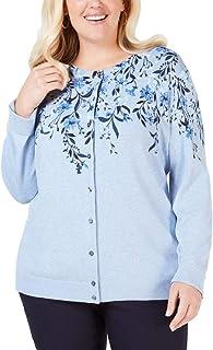 Karen Scott Women's Sweater Blue US Size 1X Plus Cardigan Floral Print
