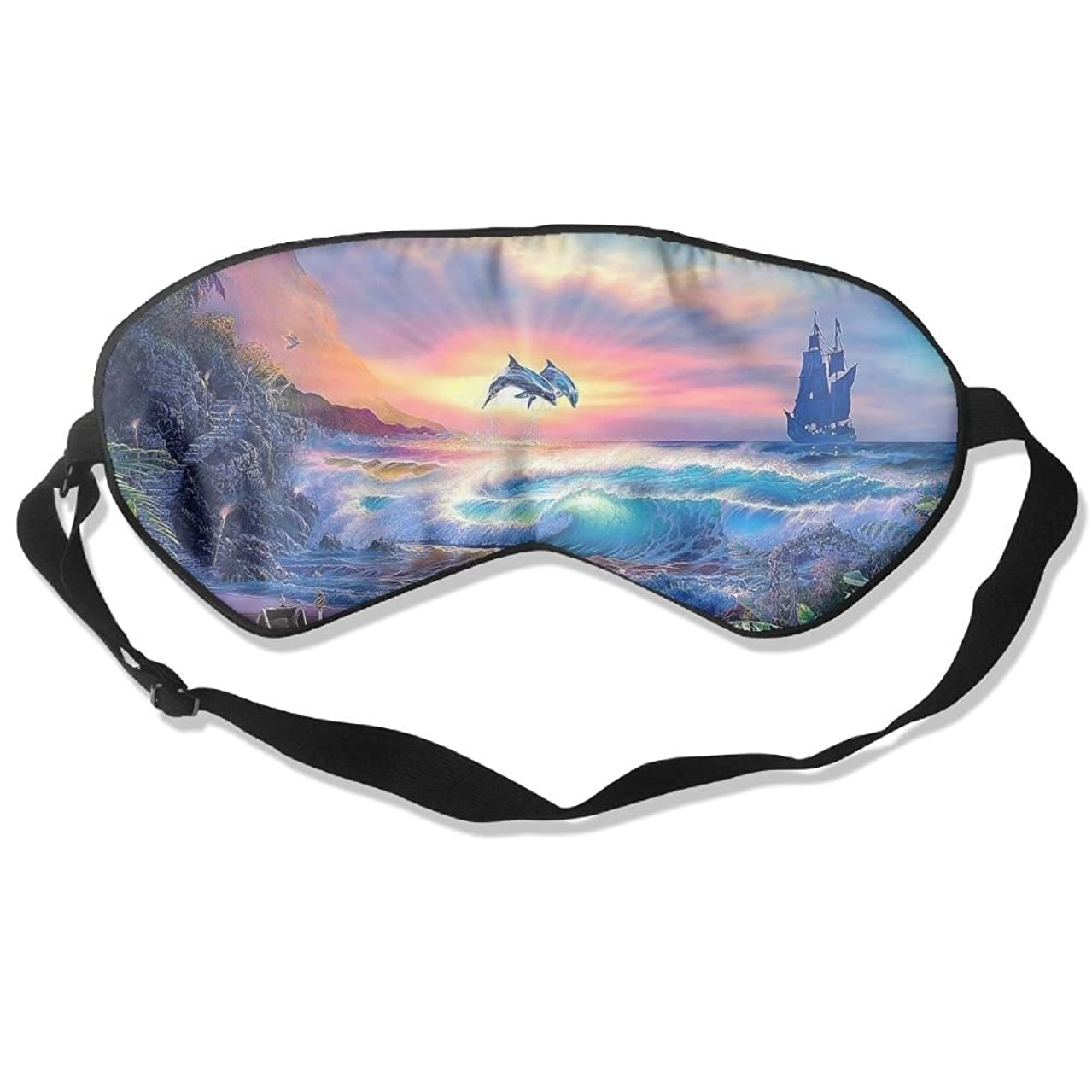 Sleep Mask Dolphin Painting Eye Cover Blackout Eye Masks,Soothing Puffy Eyes,Dark Circles,Stress,Breathable Blindfold for Women Men