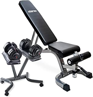 Merax Home Gym Deluxe Adjustable Dial Dumbbell & Foldable Utility Weight Bench Set