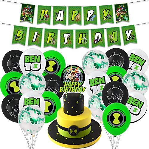 Ben 10 party supplies birthday , ben 10 birthday party supplies Set includes happy birthday banner, ben 10 cake toppers,birthday balloons for kids birthday decorations