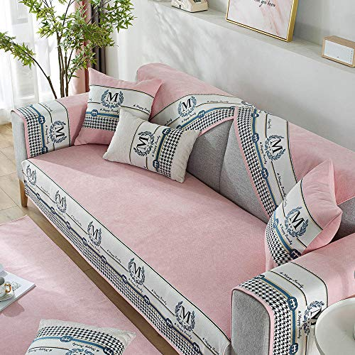 Stain Resistant furniture covers sofa,Letter Sofa Protector covers for corner couch/chaise sofa,chenille non-slip sofa slipcover,living room couch cushion cover,Sofa shield-pink_90*160cm