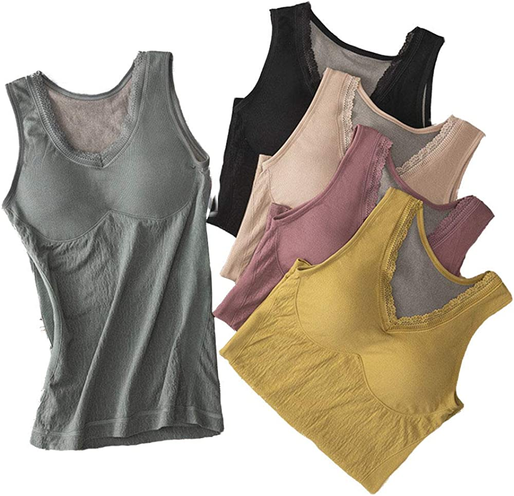 Women's Ultra Soft V- Neck Thermal Underwear Shirt Long Johns Tank Top with Fleece Lined