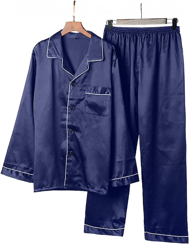 Mens Casual Pajamas Set Long Sleeve Lapel Button Down Solid Color Loose Fashion Sleepwear Pants Lounge Pjs Set