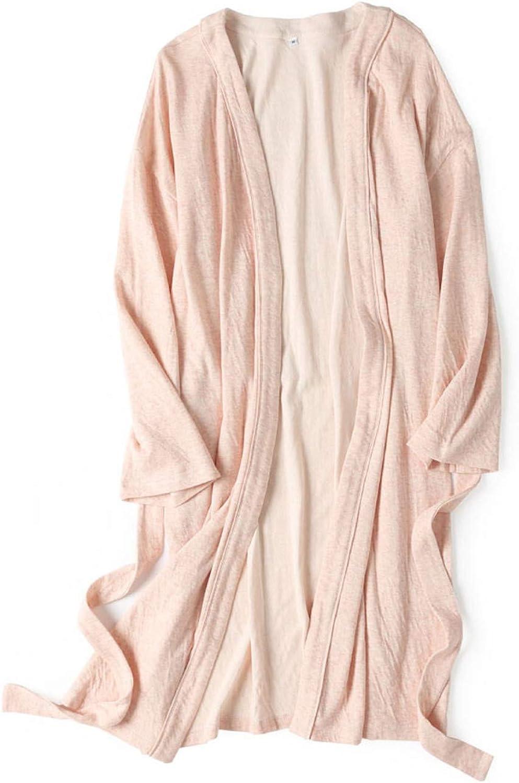 Cotton Robe Soft Kimono Spa Knit Bathrobe Lightweight Long,Solid Cotton Robe Lightweight Woven Bathrobe Men Woman