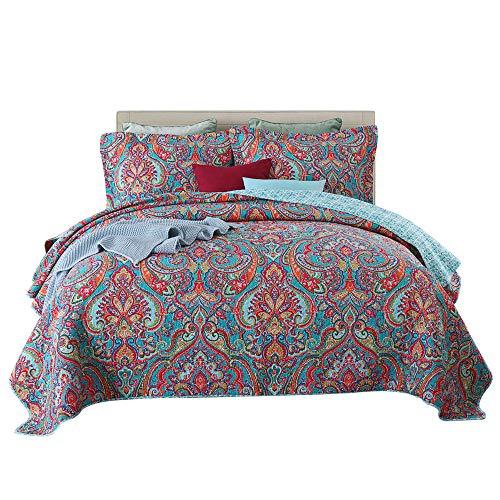 Qucover Tagesdecke 240x260cm Boho Stil Bettüberwurf für Doppelbett Bunte Gesteppte Decke Set Paisley Muster aus Baumwolle und Polyester