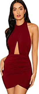 SheIn Women's Sexy Halter Ruched Bodycon Backless Wrap Party Cocktail Mini Dress