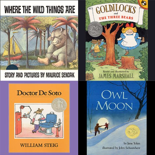 Where the Wild Things Are, Goldilocks and the Three Bears, Doctor De Soto, & Owl Moon audiobook cover art