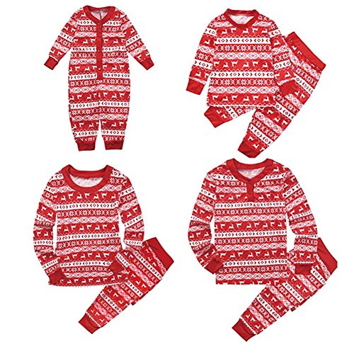 Wingbind Matching Christmas Pajamas for Family with Kids, Plaid Elk Pattern Round Neck Long Sleeve Long Pants One Piece Pajamas for Little Baby Family Pajamas Set