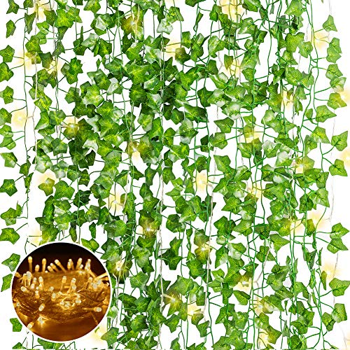 N&T NIETING Artificial Ivy Garland, 12 Pack Fake Ivy with LED Light, Fake Vines Hanging Plant for Wedding Party Garden Home and Wall Decoration