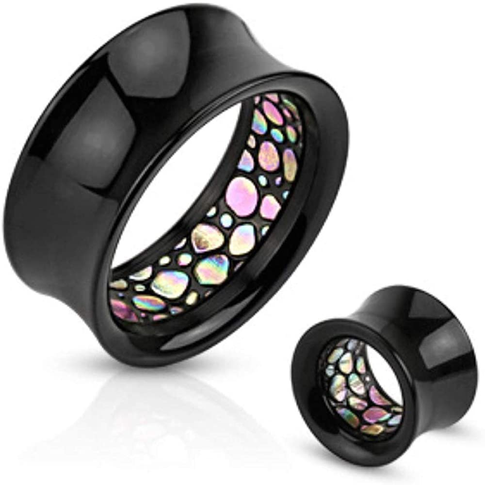 Covet Jewelry Abalone Pattern Inlayed Inside of Black Acrylic Saddle Fit Tunnel