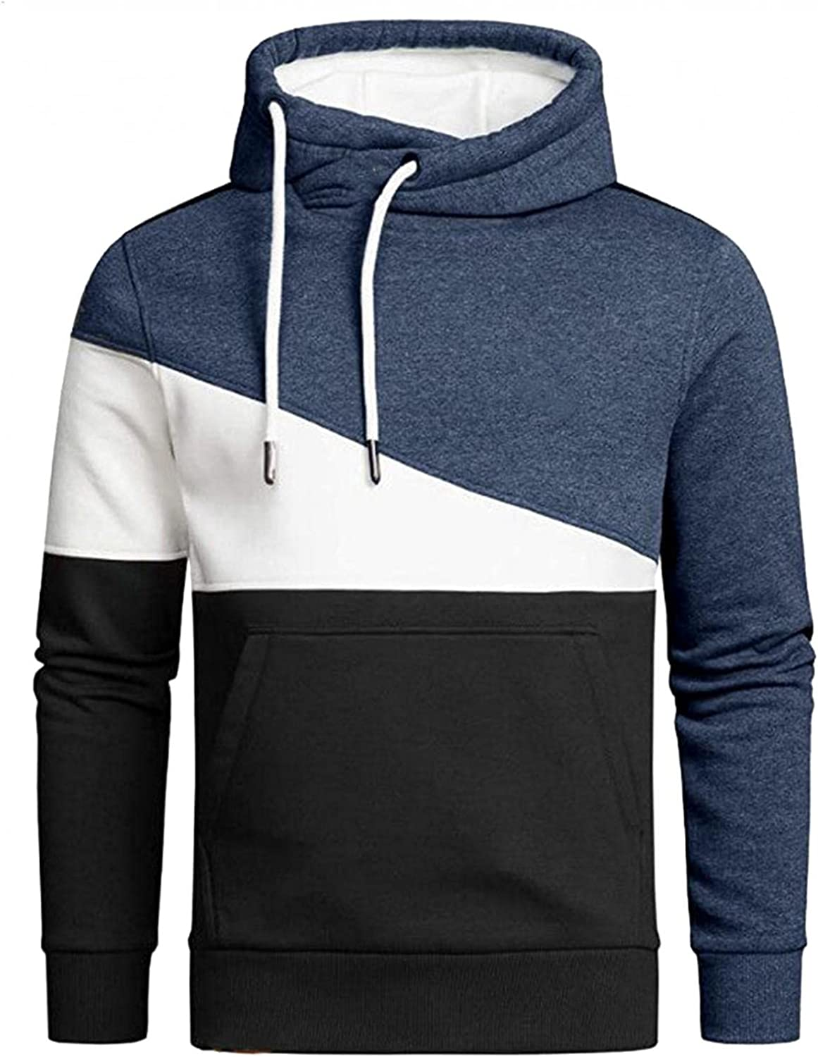 Hoodies for Men Mens Casual Dark Color Matching Long-sleeve Fashion Tether Pullover Windproof Top Fashion Hoodies Sweatshirt