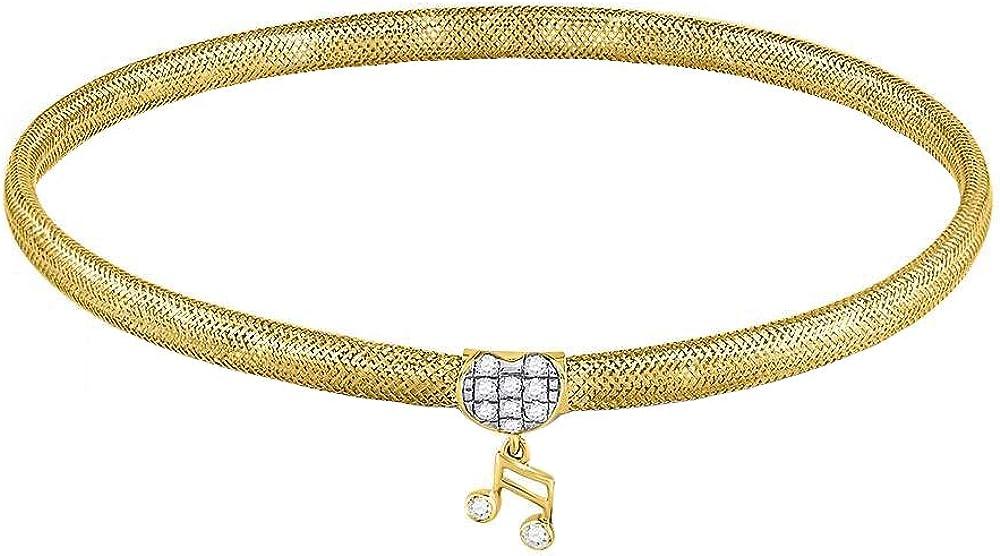 Dazzlingrock Collection 0.1 Carat (ctw) Round Diamond Music Note Stretch Bangle Bracelet 1/10 CT