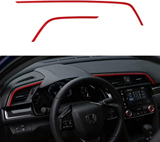 Thenice 2pcs Center Consoles Stickers Air Vent Trims Dash Board Panel Strips Inner Decals for 10th Gen Honda Civic 2020 2019 2018 2017 2016 -Red - coolthings.us